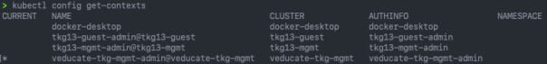 Deploy Tanzu Kubernetes Guest cluster to Azure - kubectl config get contexts