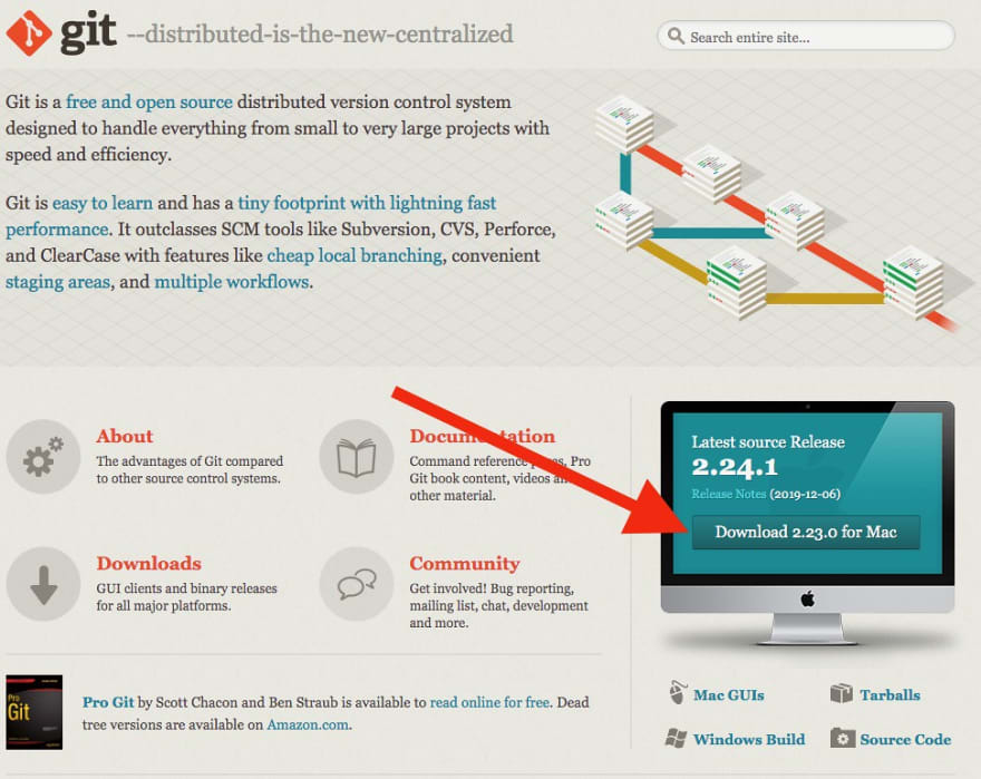 Screenshot of the Git website with an arrow pointing to the download button