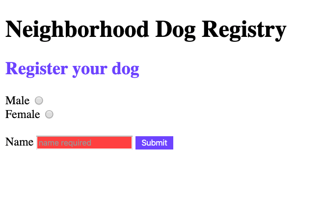 Neighorhood dog registry website