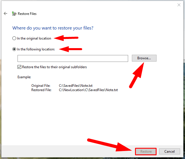 Restore button to complete the operation