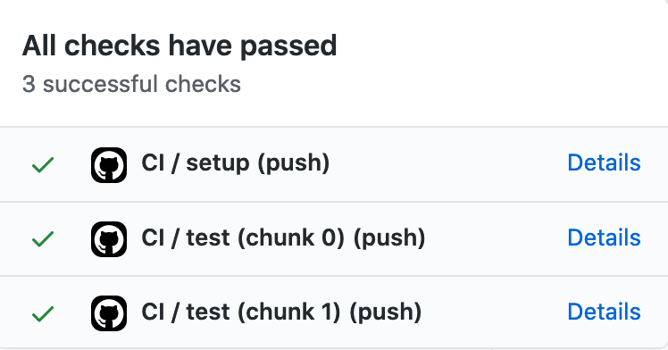 A list of successful test runs, one for each chunk