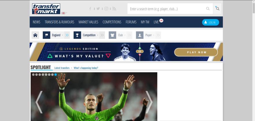 Página Inicial do Transfermarkt