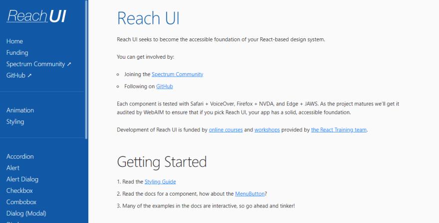 Reach UI landing page