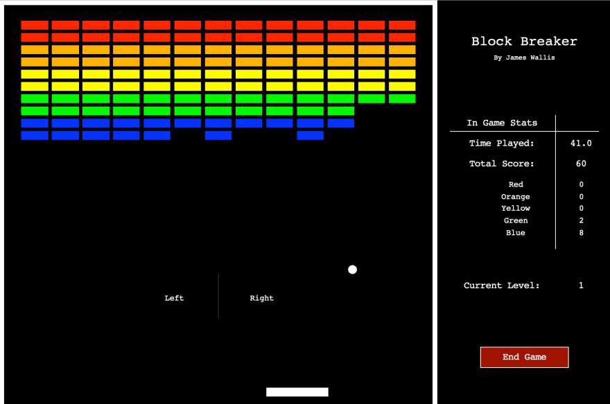 Blockbreaker game screen