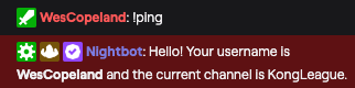 The chat command in action