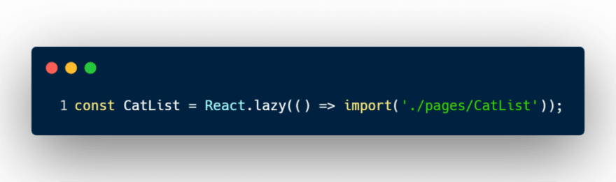 React lazy with dynamic import code sample