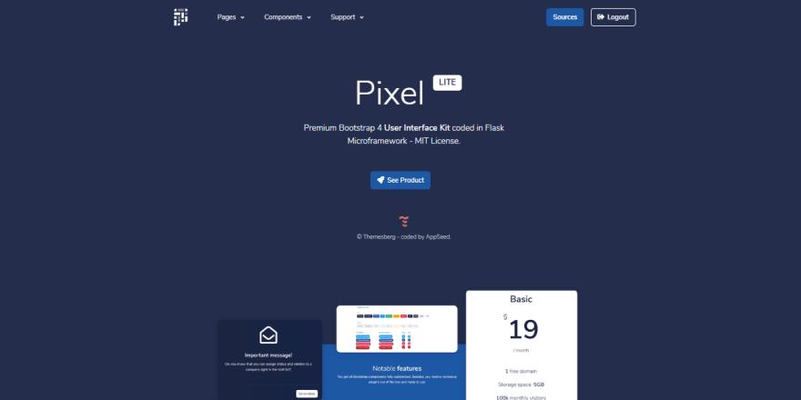Pixel Lite - Flask version, hero section screen.