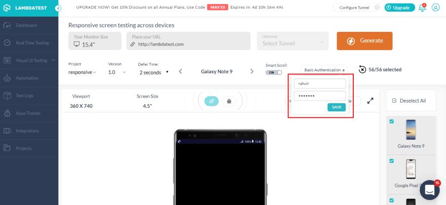 mobile website-test