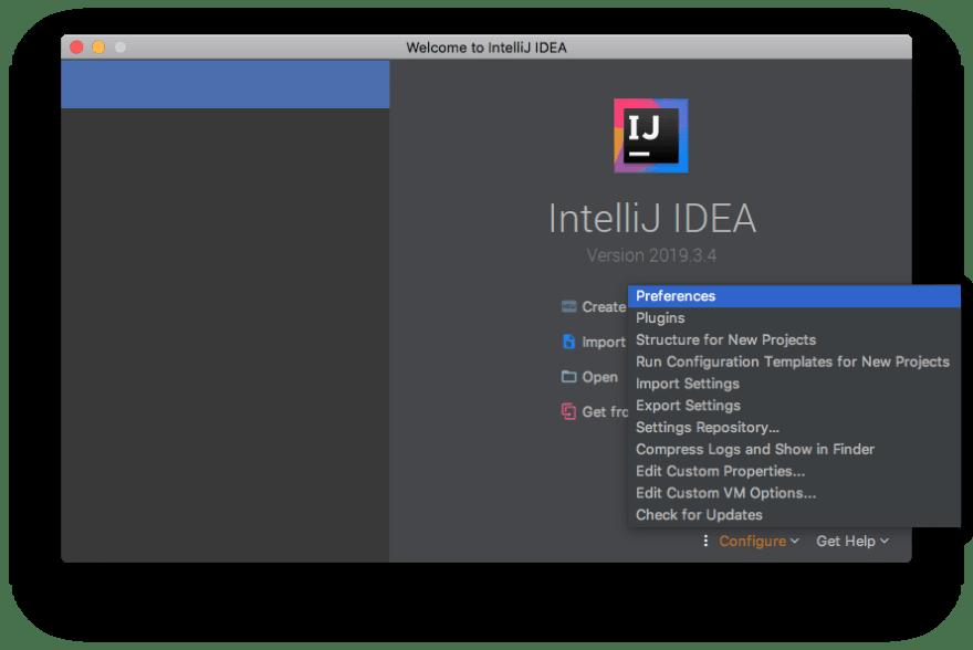IntelliJ Welcome Screen
