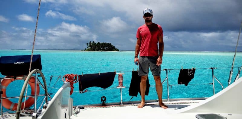 Mobile Jazz CEO Stefan Klumpp working remotely from a sailing boat in Micronesia