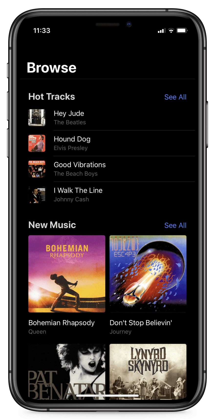 an Ionic app in dark mode