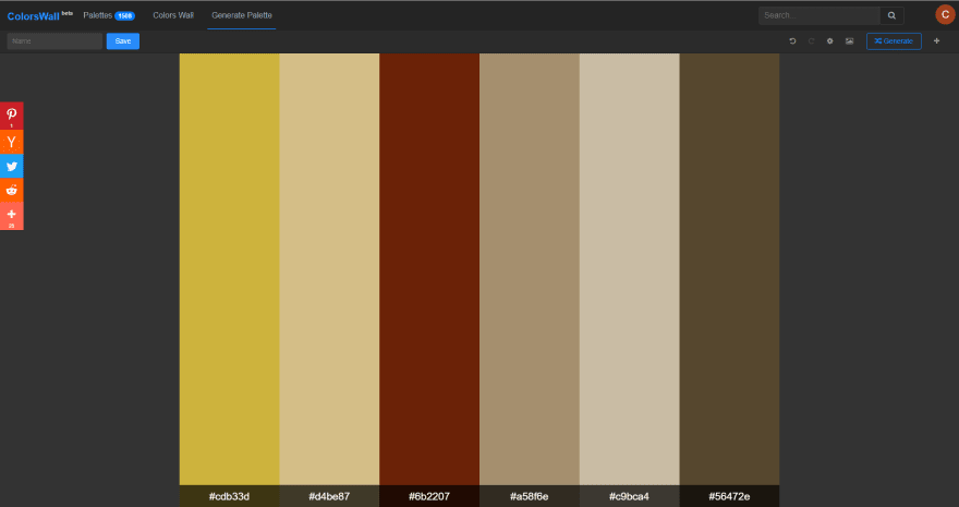 Image colors palette result