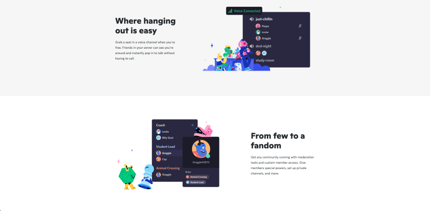 Discord website section
