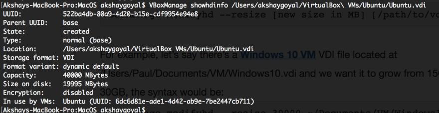 Increasing VirtualBox VDI storage capacity on Mac OS X - DEV