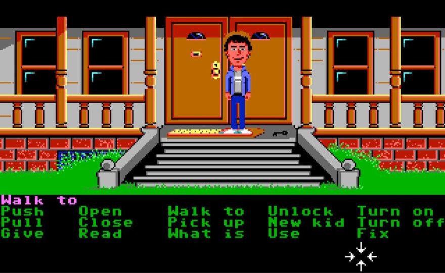 Screenshot of a scene of Maniac Mansion gameplay.