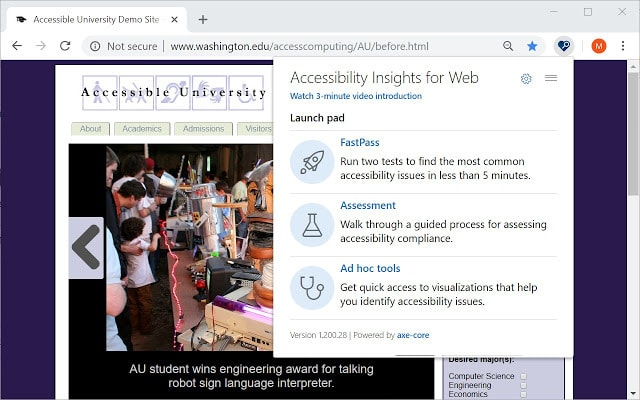 Accessibility Insights for Web screenshot