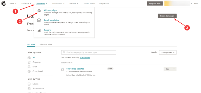 Create a new campaign to send a blog post to subscribers.