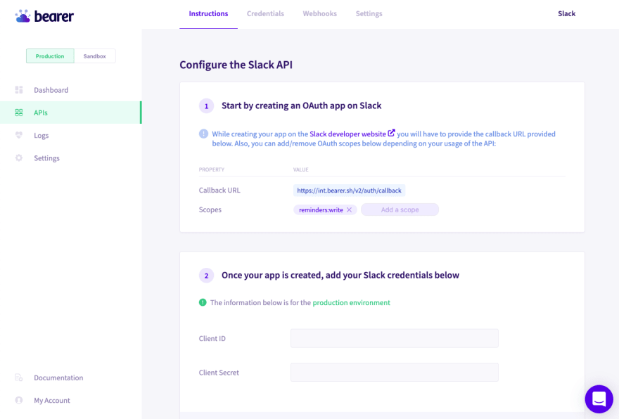The Slack API added to my Bearer account