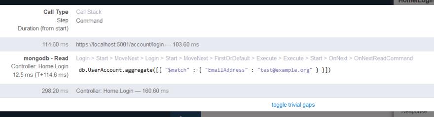 MiniProfiler showing an actual MongoDB query
