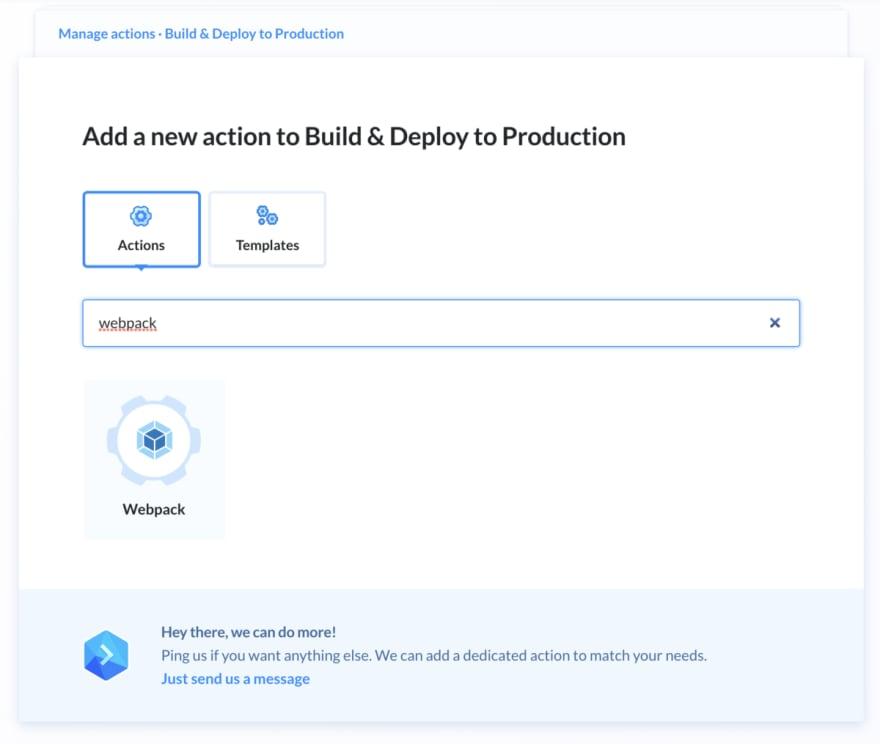Atomic deployment buddy step webpack build