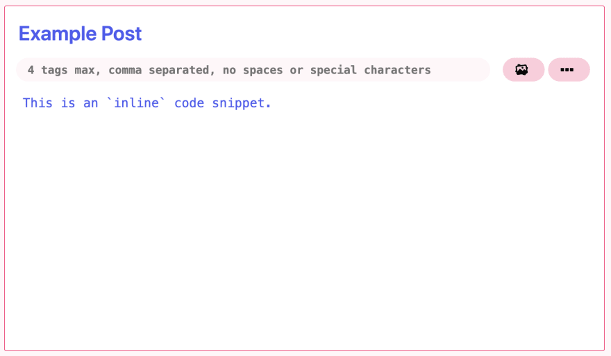 example of using inline code snippet displayed within the text editor