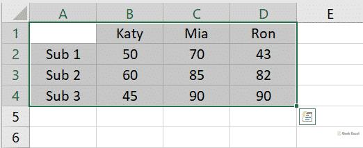 Selection range