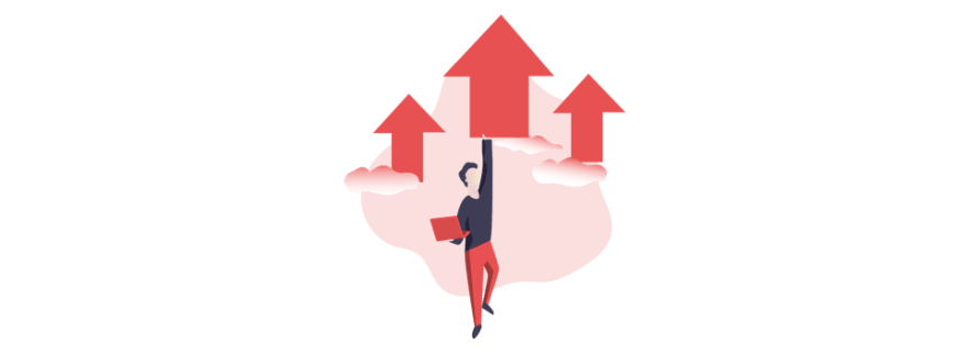 illustration of person holding a laptop while being lifted up by three arrows