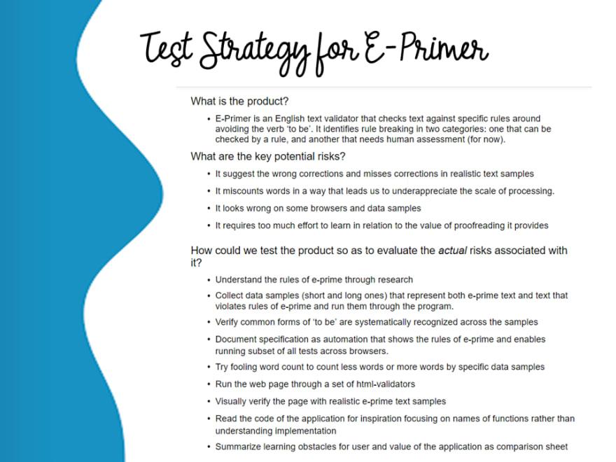 Test Strategy for E-Primer