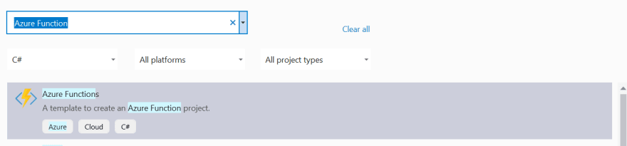 Visual Studio 2019 Select Azure Function Project