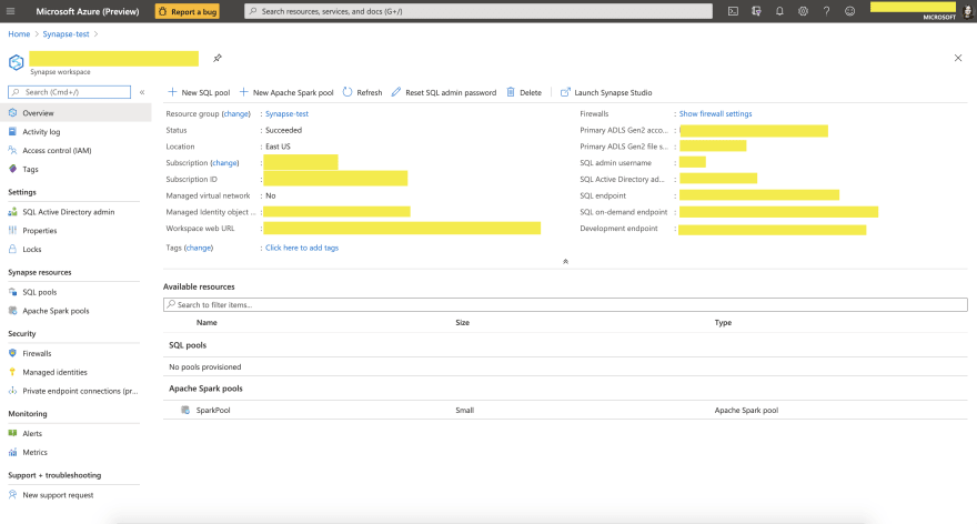 Synapse Workspaces Page in Azure Portal