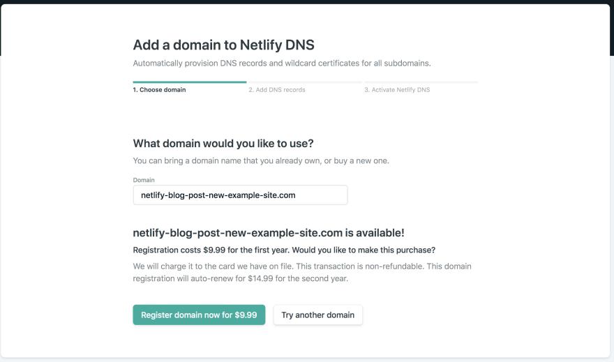 netlify buying domain
