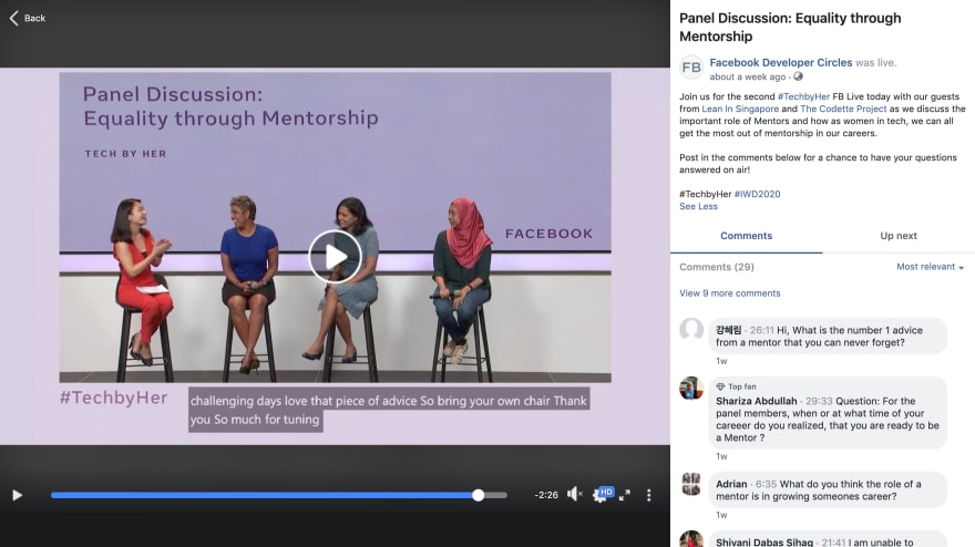 Livestream from Facebook #TechbyHer Online Conference