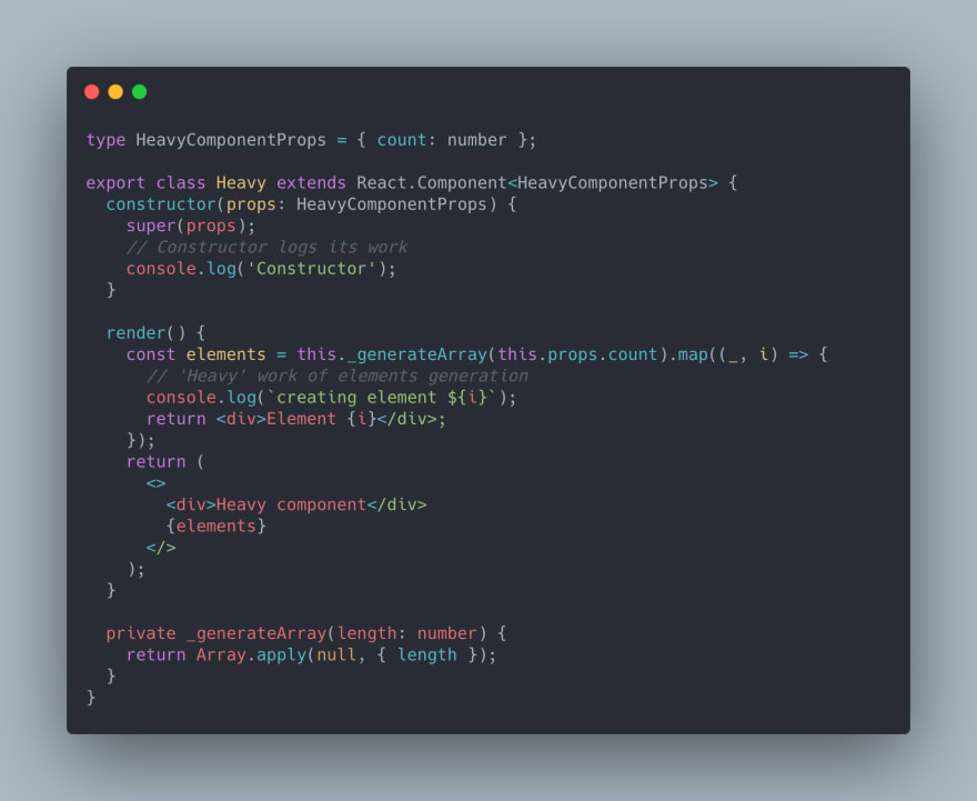 React TypeScript Code of the Heavy component