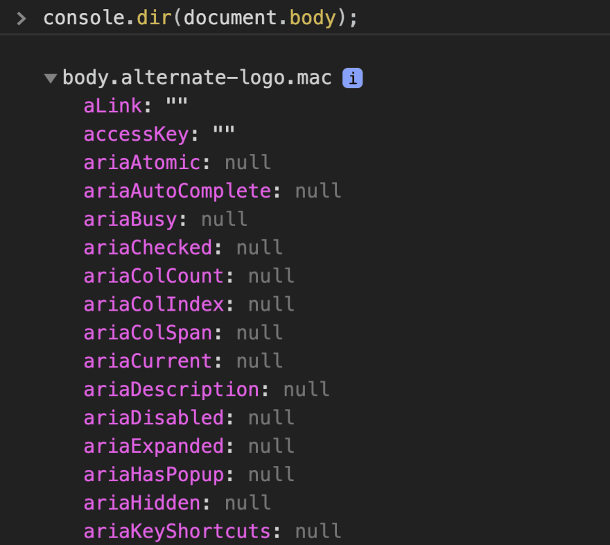 Showing the what is displayed when using console.dir(document.body);