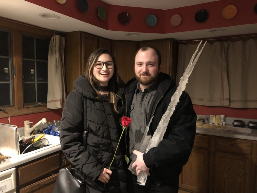 My lovely fiancé Emily and I after a Valentine's Day date