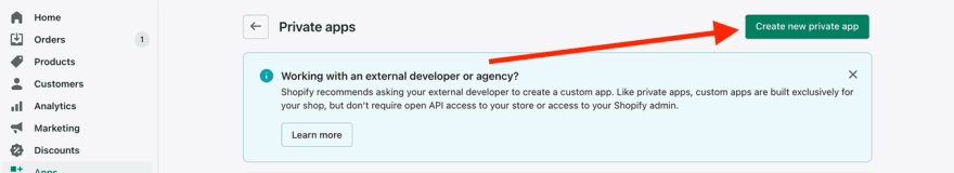 A screenshot displaying the 'Create new private app' button