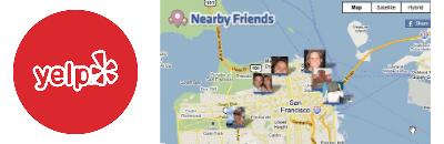 Yelp + Facebook Nearby logos