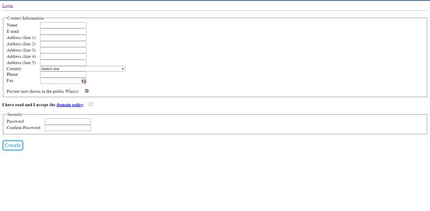 Register form on eu.org