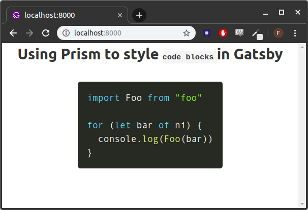 page with prism and markdown