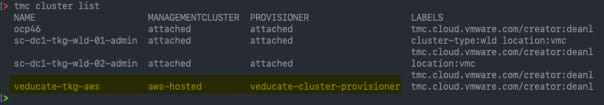 Access your cluster - tmc cluster list