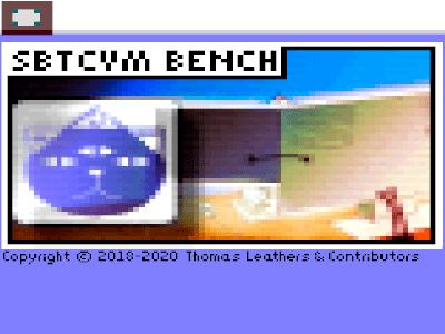 SBTCVM's GUI desktop 'bench' TROM/disk, showing its info screen.
