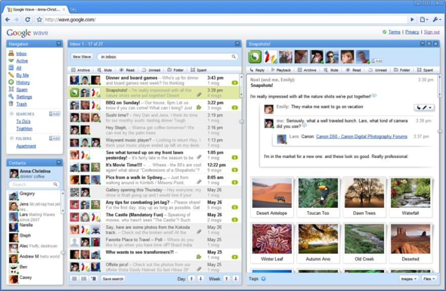 Google Wave collaboration software.