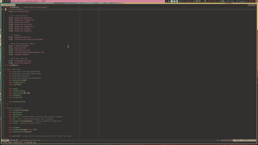 Screenshot of a Linux desktop with NeoVim running