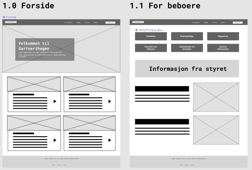 Wireframe for the new web page