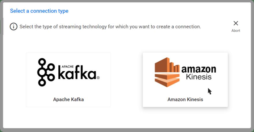Creating an Amazon Kinesis connection