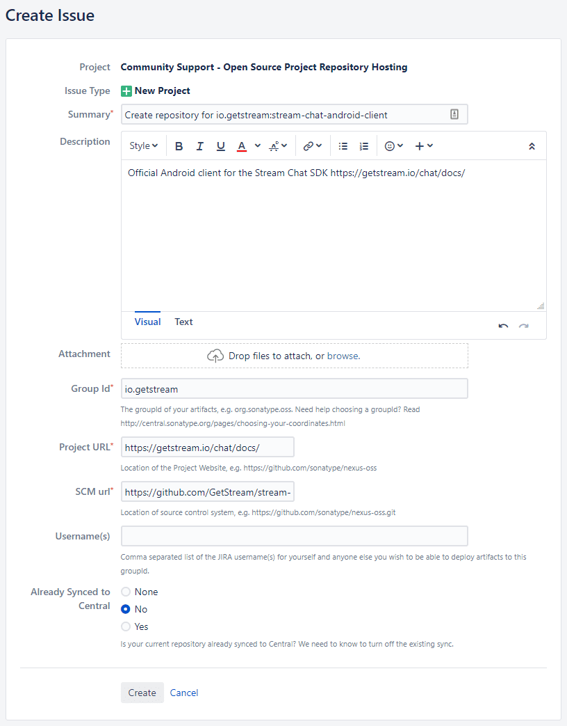 The filled out issue details page for a new repository