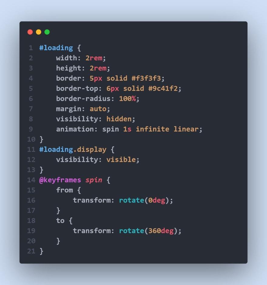 Stylesheet for loader