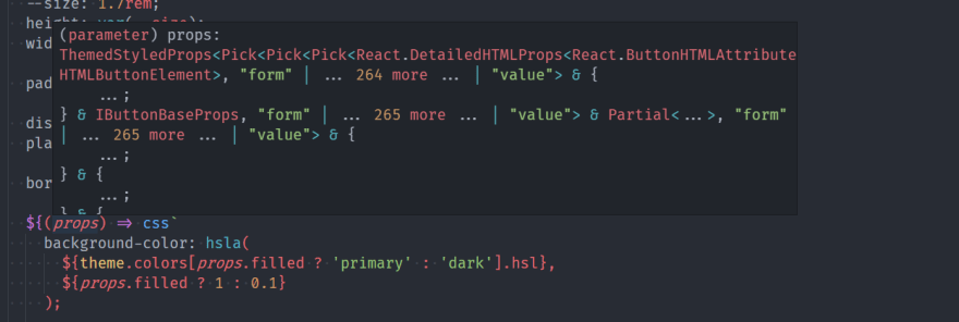 Styled Components usage of Pick