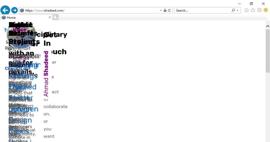 Imagem mostrando todo o conteúdo do site colapsado à esquerda