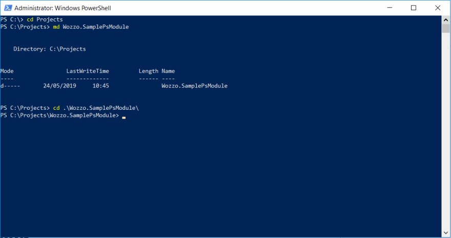 Create and enter PowerShell Directory